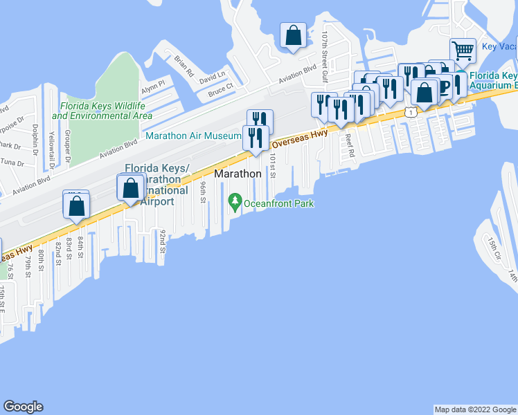 map of restaurants, bars, coffee shops, grocery stores, and more near 1099 100th Street Ocean in Marathon