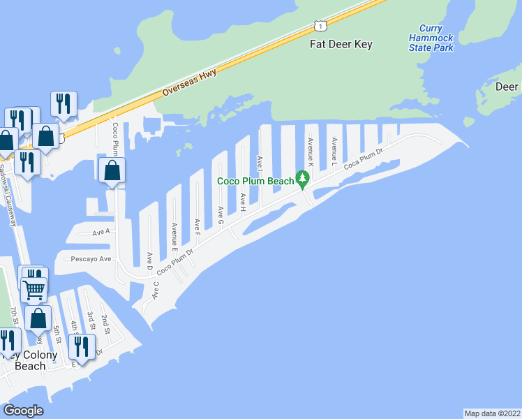 map of restaurants, bars, coffee shops, grocery stores, and more near Coco Plum Drive in Marathon