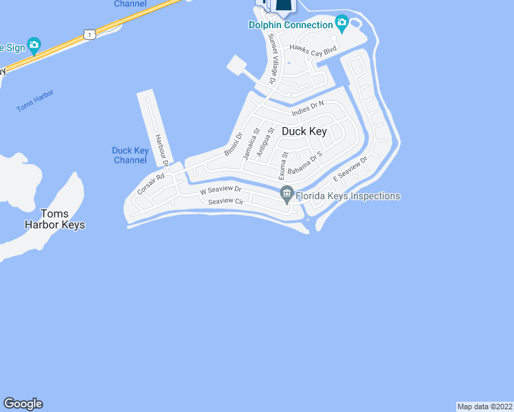 map of restaurants, bars, coffee shops, grocery stores, and more near 240 West Seaview Circle in Duck Key