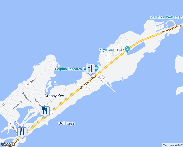 map of restaurants, bars, coffee shops, grocery stores, and more near 58885 Overseas Highway in Marathon