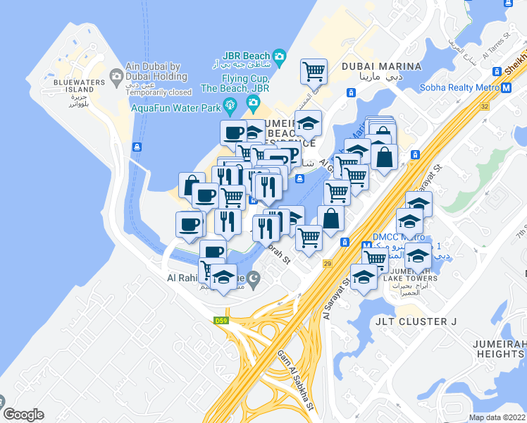 map of restaurants, bars, coffee shops, grocery stores, and more near شارع شاطئ جميرة in Dubai