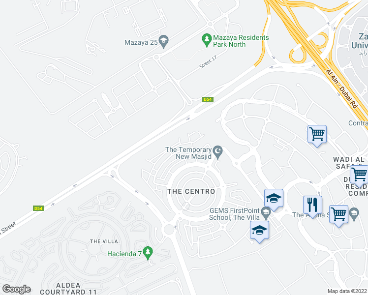 map of restaurants, bars, coffee shops, grocery stores, and more near None in Dubai
