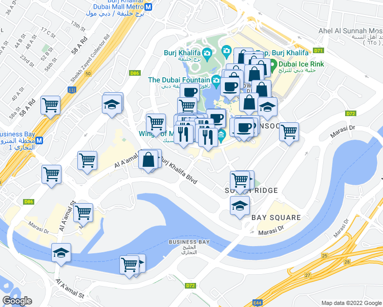 map of restaurants, bars, coffee shops, grocery stores, and more near Emaar Boulevard in Dubai