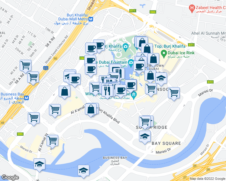 map of restaurants, bars, coffee shops, grocery stores, and more near 13 Sheikh Mohammed bin Rashid Boulevard in Dubai