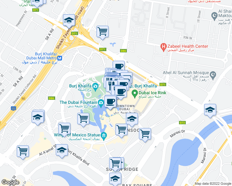 map of restaurants, bars, coffee shops, grocery stores, and more near in Dubai
