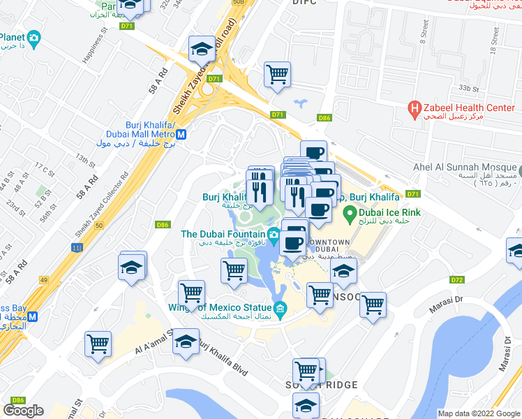 map of restaurants, bars, coffee shops, grocery stores, and more near Sheikh Mohammed bin Rashid Boulevard in Dubai