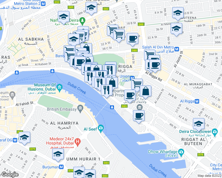 map of restaurants, bars, coffee shops, grocery stores, and more near 17th Street in Dubai