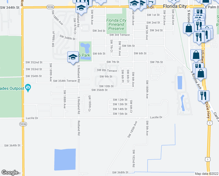 map of restaurants, bars, coffee shops, grocery stores, and more near 767 Southwest 10th Street in Homestead