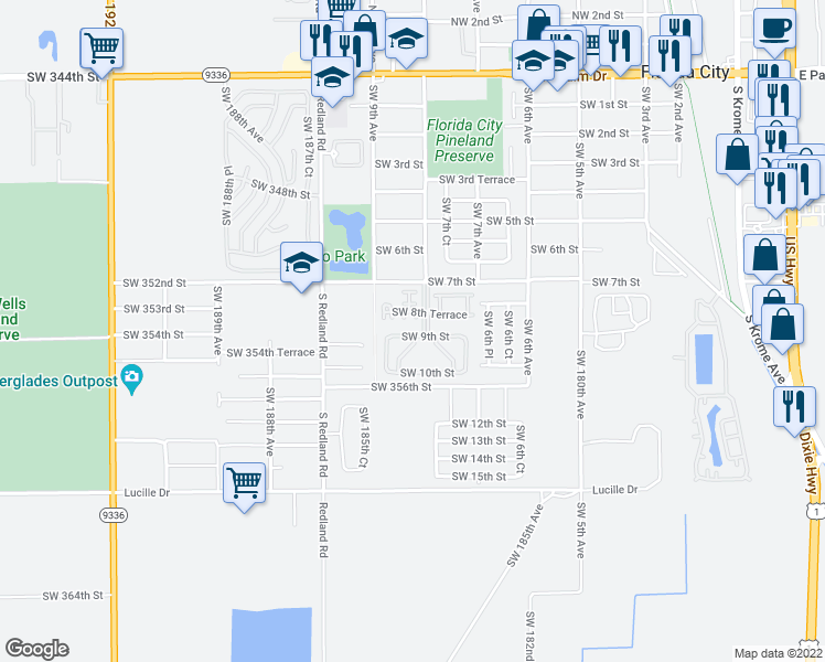 map of restaurants, bars, coffee shops, grocery stores, and more near 902 Southwest 8th Place in Florida City
