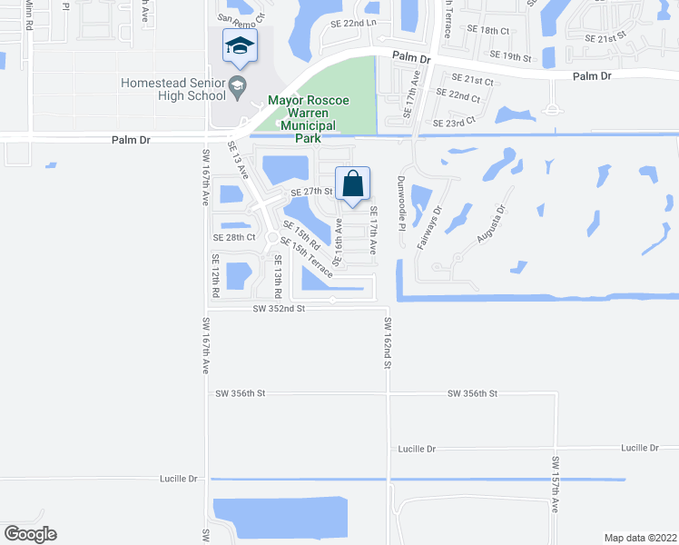 map of restaurants, bars, coffee shops, grocery stores, and more near 1617 Southeast 30th Street in Homestead