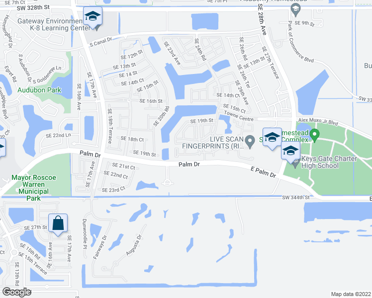 map of restaurants, bars, coffee shops, grocery stores, and more near 2208 Southeast 23rd Terrace in Homestead