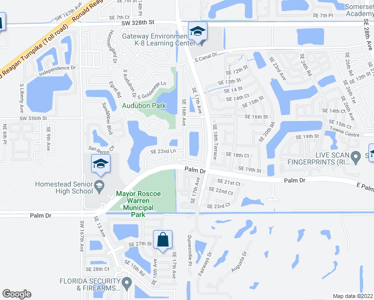 map of restaurants, bars, coffee shops, grocery stores, and more near 2221 Southeast 16th Avenue in Homestead