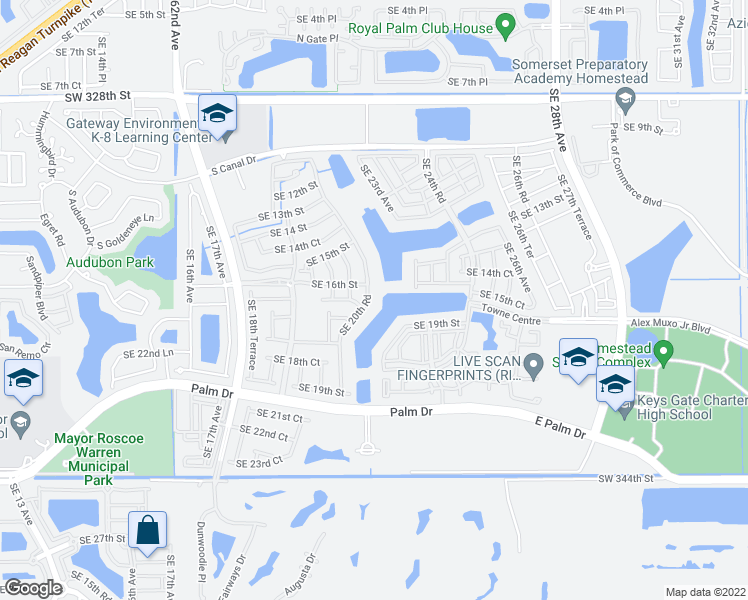 map of restaurants, bars, coffee shops, grocery stores, and more near 1655 Southeast 20th Road in Homestead