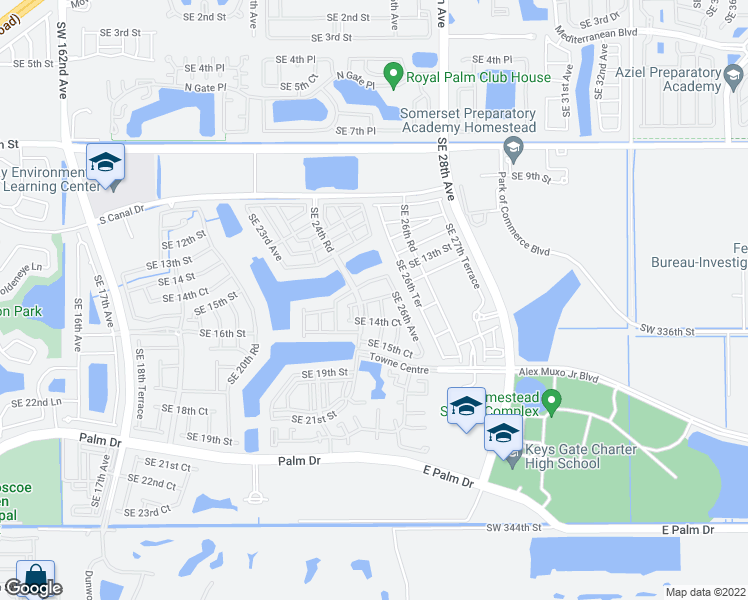 map of restaurants, bars, coffee shops, grocery stores, and more near 2505 Southeast 14 Street in Homestead