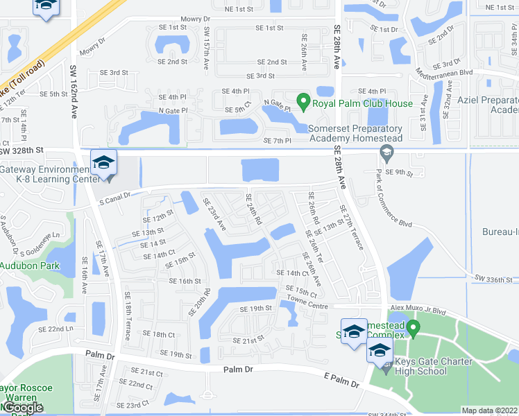map of restaurants, bars, coffee shops, grocery stores, and more near Southeast 25th Terrace in Homestead
