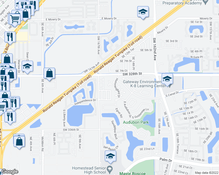 map of restaurants, bars, coffee shops, grocery stores, and more near 1338 South Quetzal Court in Homestead