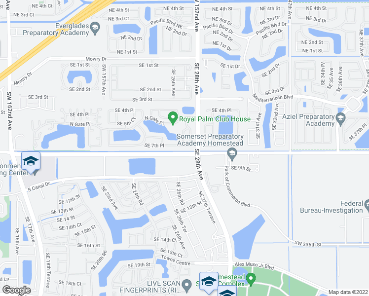 map of restaurants, bars, coffee shops, grocery stores, and more near 2710 Southeast 7th Place in Homestead