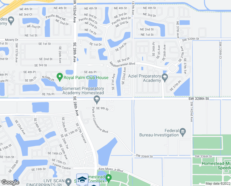 map of restaurants, bars, coffee shops, grocery stores, and more near 665 Southeast 31st Avenue in Homestead