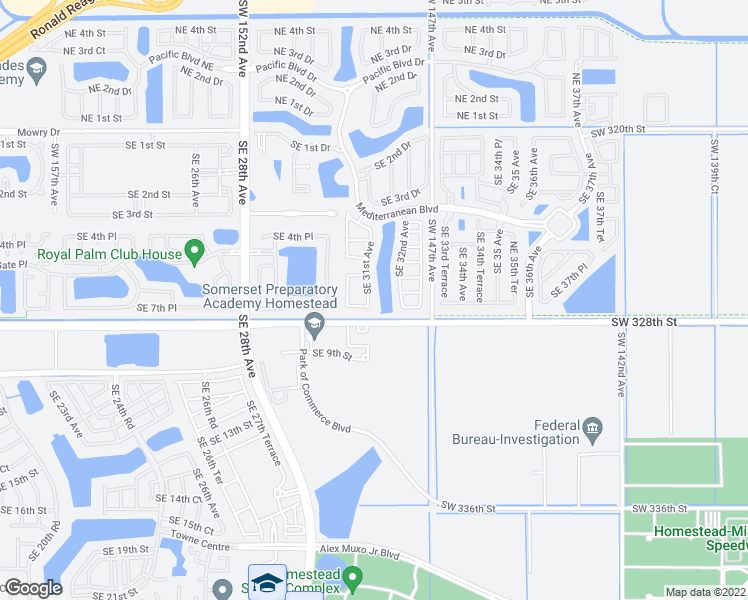 map of restaurants, bars, coffee shops, grocery stores, and more near 657 Southeast 31st Avenue in Homestead