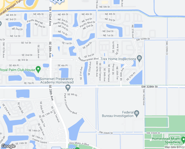 map of restaurants, bars, coffee shops, grocery stores, and more near 3217 Southeast 6th Street in Homestead