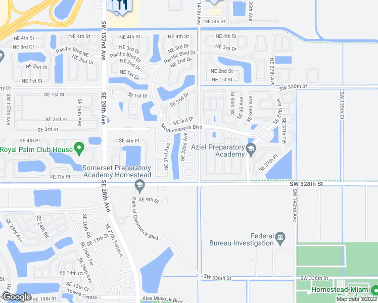 map of restaurants, bars, coffee shops, grocery stores, and more near 3215 Southeast 5th Court in Homestead