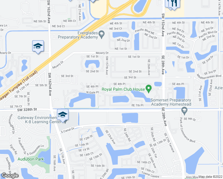 map of restaurants, bars, coffee shops, grocery stores, and more near 525 Southeast 23rd Lane in Homestead