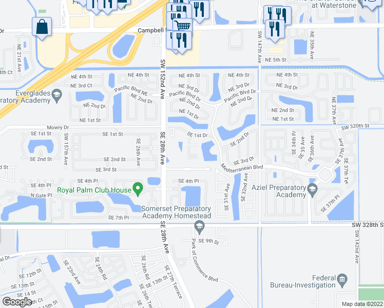 map of restaurants, bars, coffee shops, grocery stores, and more near 152 Southeast 29th Avenue in Homestead