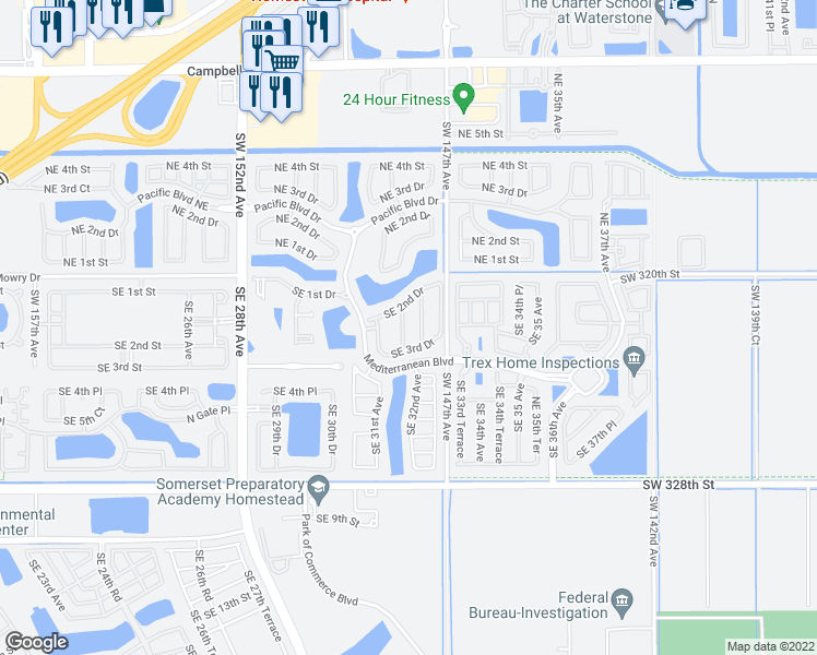 map of restaurants, bars, coffee shops, grocery stores, and more near 259 Southeast 31st Terrace in Homestead