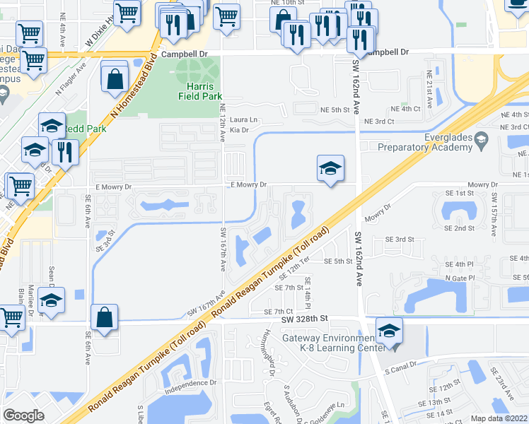 map of restaurants, bars, coffee shops, grocery stores, and more near 1400 East Mowry Drive in Homestead