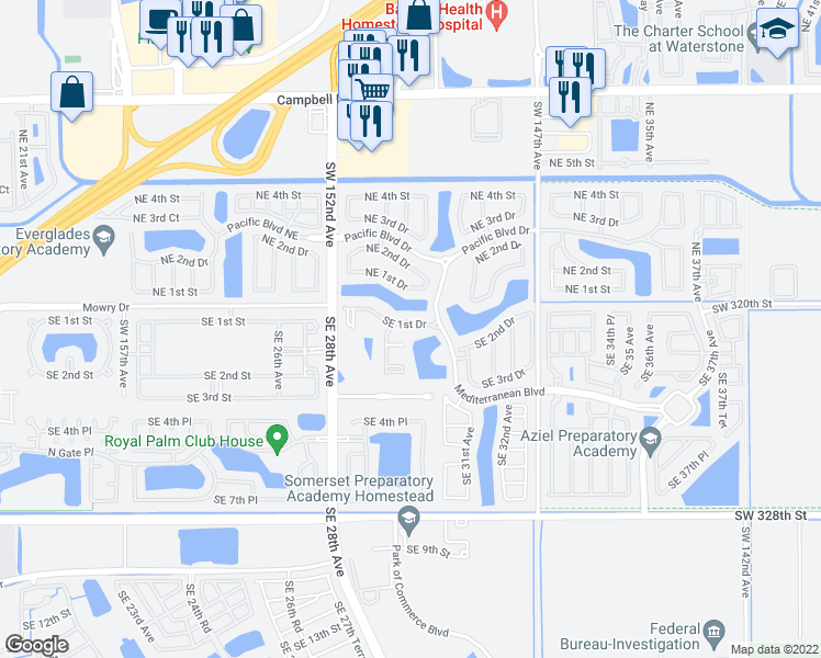map of restaurants, bars, coffee shops, grocery stores, and more near 205 Southeast 29th Terrace in Homestead