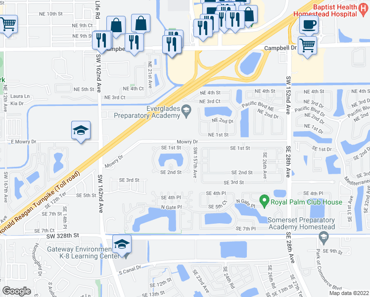 map of restaurants, bars, coffee shops, grocery stores, and more near 3380 Southeast 1st Street in Homestead
