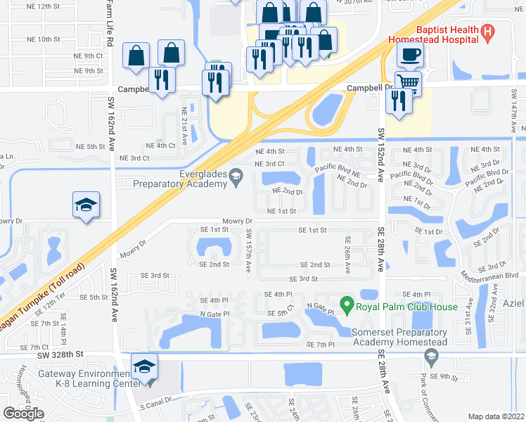 map of restaurants, bars, coffee shops, grocery stores, and more near 2402 Northeast 1st Street in Homestead