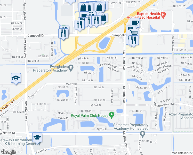 map of restaurants, bars, coffee shops, grocery stores, and more near 148 Northeast 25th Terrace in Homestead