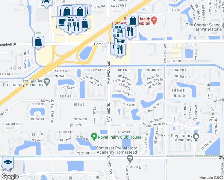 map of restaurants, bars, coffee shops, grocery stores, and more near 134 Northeast 28th Terrace in Homestead