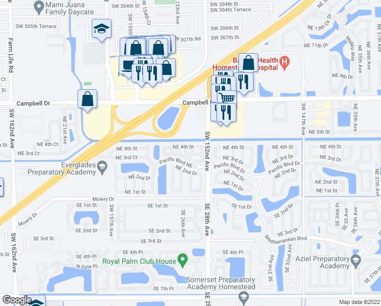 map of restaurants, bars, coffee shops, grocery stores, and more near 2731 Northeast 3rd Drive in Homestead