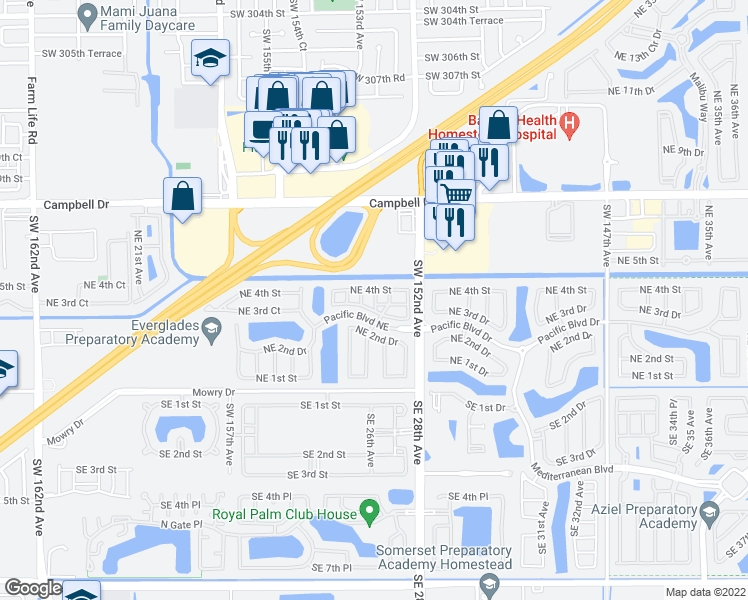 map of restaurants, bars, coffee shops, grocery stores, and more near 2741 Northeast 4th Street in Homestead