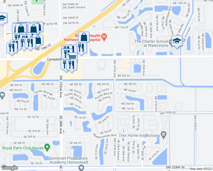 map of restaurants, bars, coffee shops, grocery stores, and more near 3160 Northeast 4th Street in Homestead