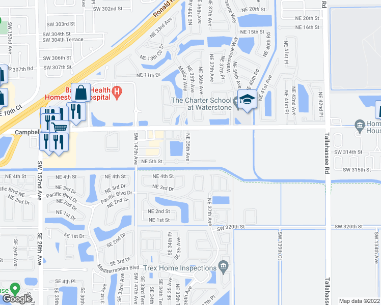 map of restaurants, bars, coffee shops, grocery stores, and more near 529 Northeast 35th Avenue in Homestead