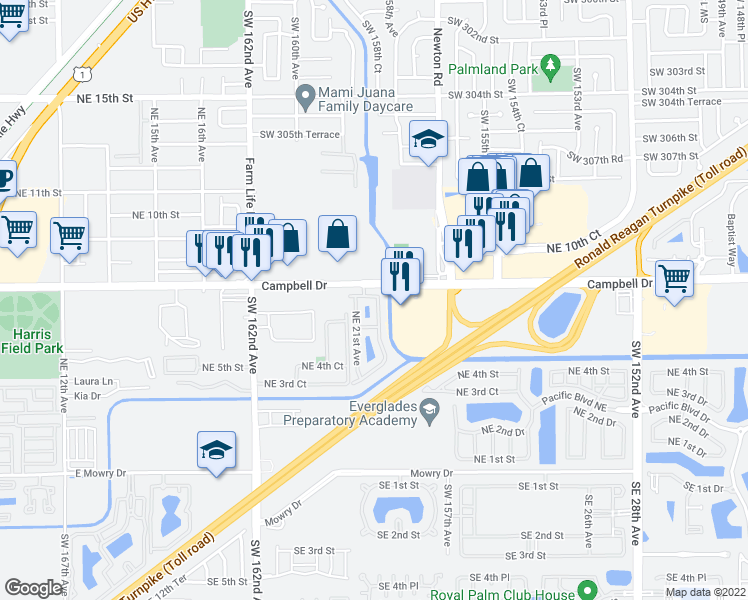 map of restaurants, bars, coffee shops, grocery stores, and more near 676 Northeast 21st Terrace in Homestead
