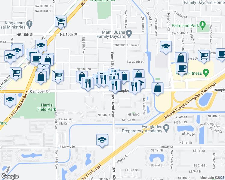 Map Homestead Florida.Campbell Dr Farm Life Rd Homestead Fl Walk Score
