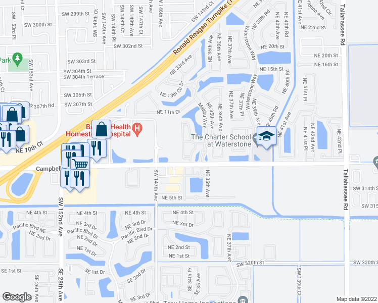 map of restaurants, bars, coffee shops, grocery stores, and more near 930 Northeast 34th Avenue in Homestead