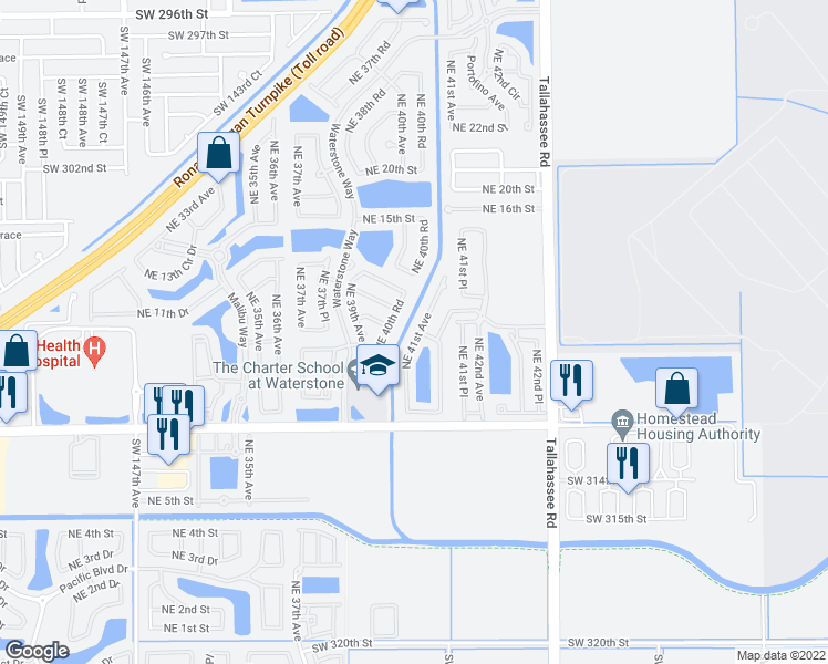 map of restaurants, bars, coffee shops, grocery stores, and more near 1098 Northeast 41st Avenue in Homestead
