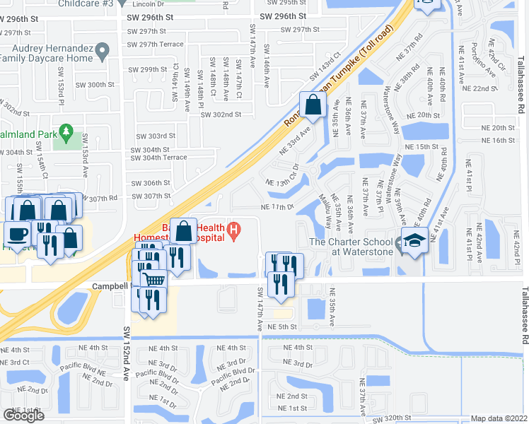 map of restaurants, bars, coffee shops, grocery stores, and more near 3251 Northeast 11th Drive in Homestead