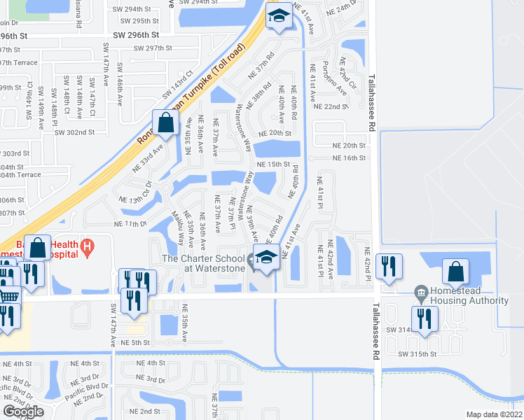 map of restaurants, bars, coffee shops, grocery stores, and more near 3931 Northeast 12th Drive in Homestead