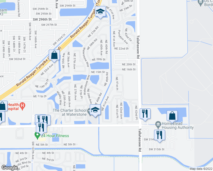 map of restaurants, bars, coffee shops, grocery stores, and more near 1415 Northeast 40th Road in Homestead