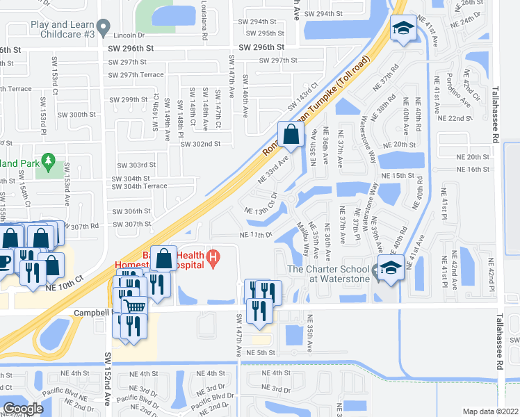 map of restaurants, bars, coffee shops, grocery stores, and more near 3370 Northeast 14th Drive in Homestead