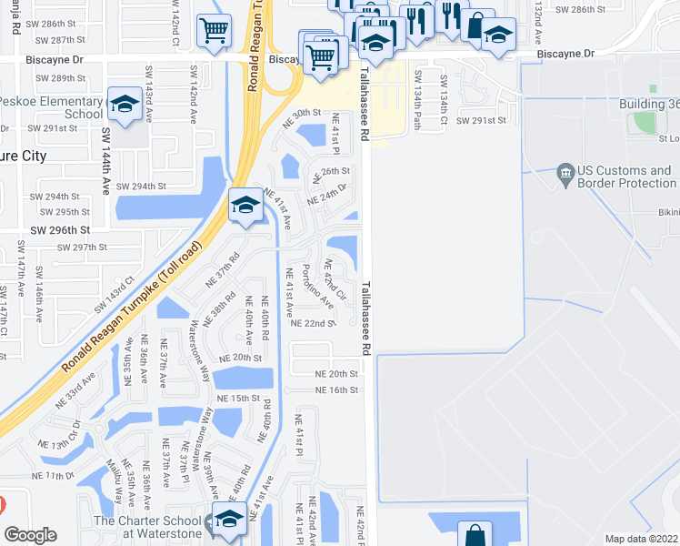 map of restaurants, bars, coffee shops, grocery stores, and more near 4213 Northeast 22nd Drive in Homestead
