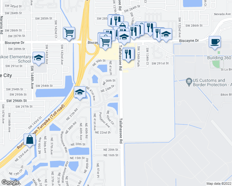 map of restaurants, bars, coffee shops, grocery stores, and more near 4130 Northeast 24th Street in Homestead
