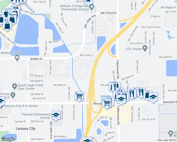 map of restaurants, bars, coffee shops, grocery stores, and more near 13929 Southwest 282nd Street in Homestead