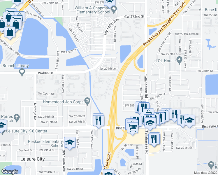 map of restaurants, bars, coffee shops, grocery stores, and more near 13933 Southwest 282nd Street in Homestead